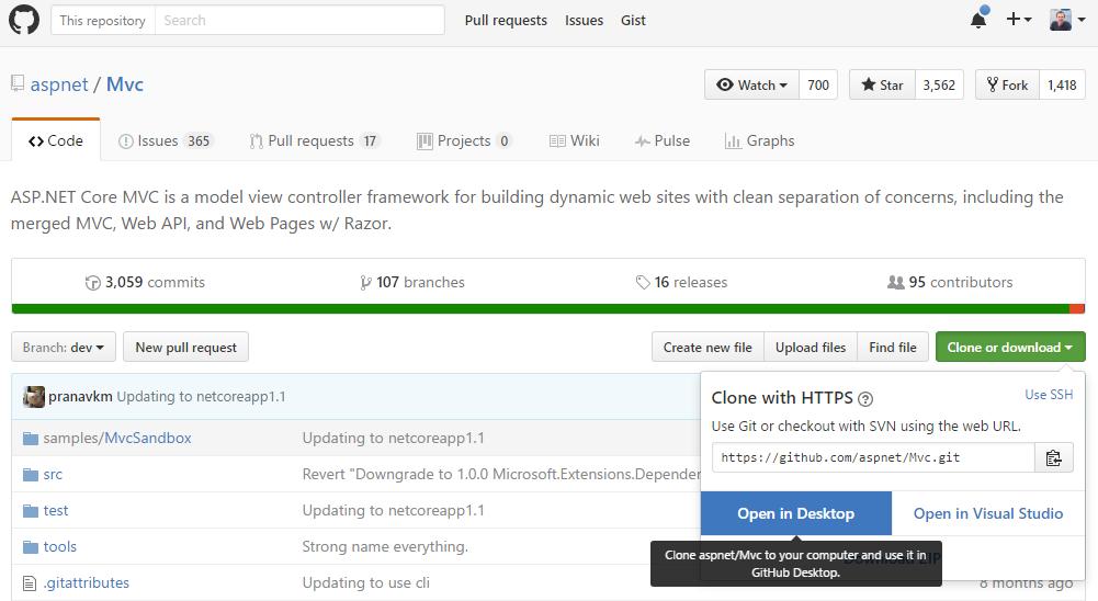 Clone MVC Core via GitHub Desktop