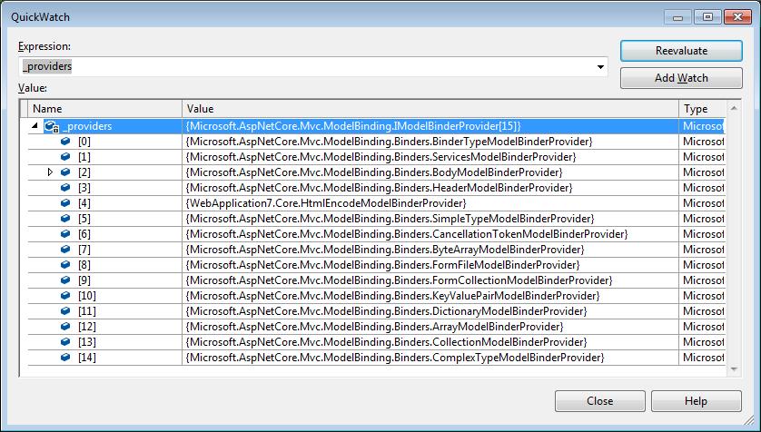 ASP.NET Core ModelBinders List