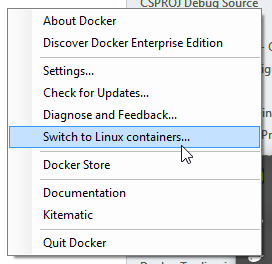 Switch between Linux and Windows with Docker for Windows
