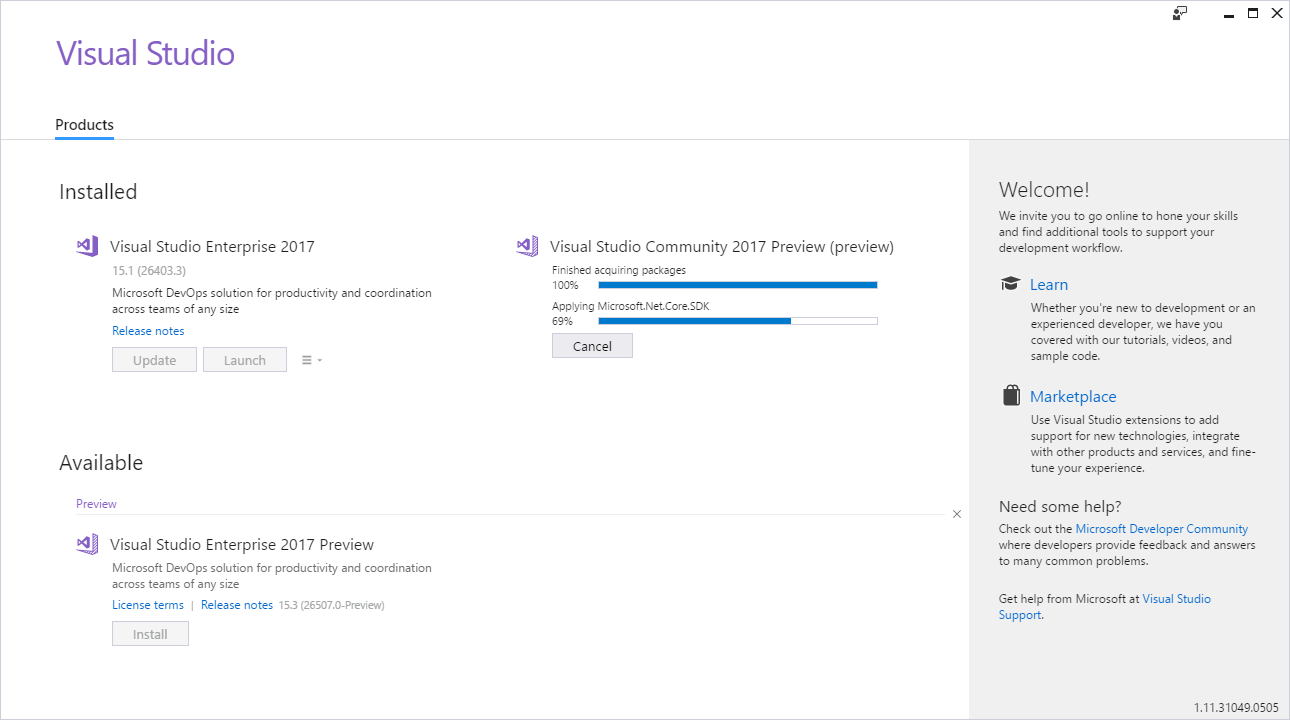 Installing Visual Studio 2017 preview