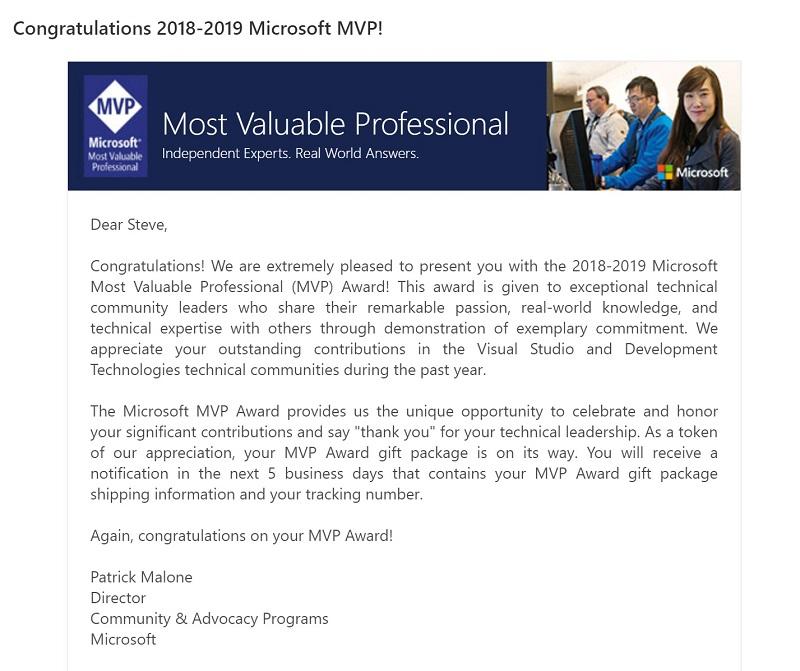 MVP Award Email