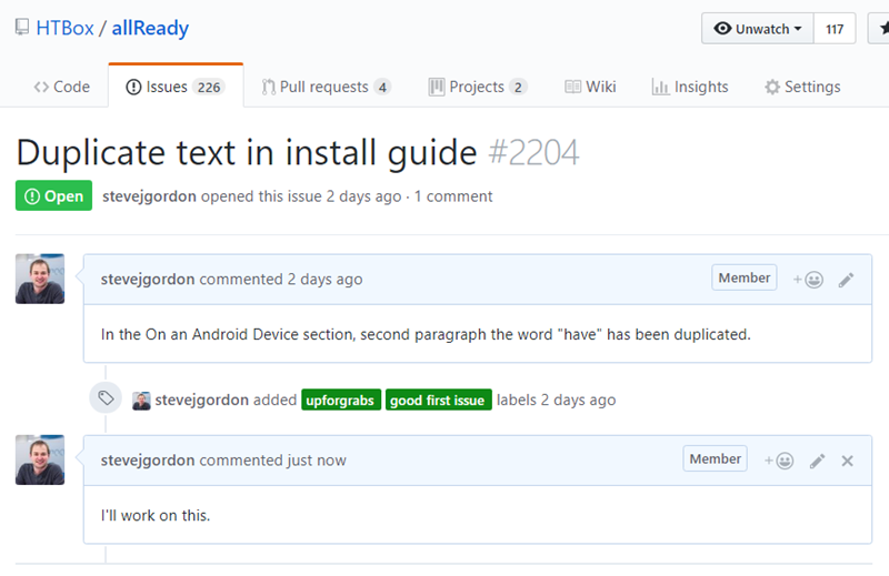 Leaving a comment on GitHub