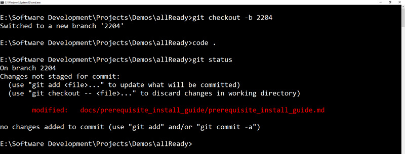 Git status modified