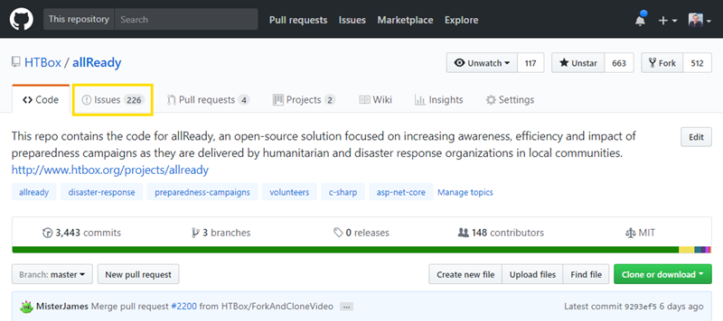 GitHub navigating to the issues
