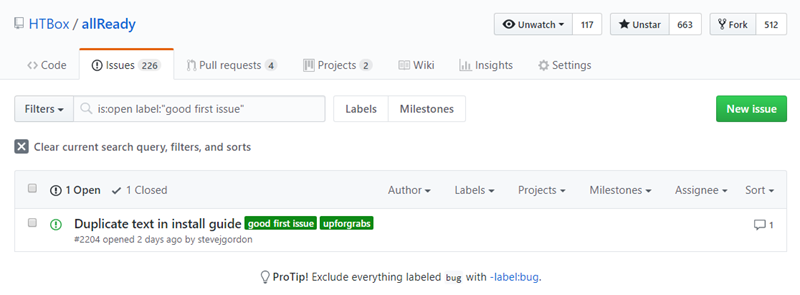 GitHub issues filtered by label