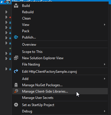 Manage client side libraries in Visual Studio 2017