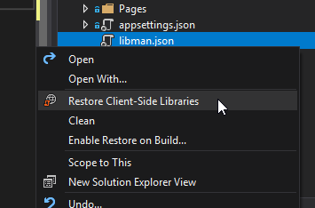 Restore client side libraries with lib man in Visual Studio 2017