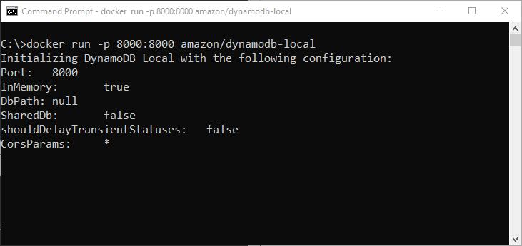 Docker run a AWS DynamoDB local container