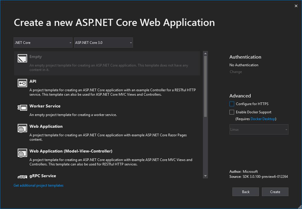 ASP.NET Core 3.0 Empty Web Project Dialog