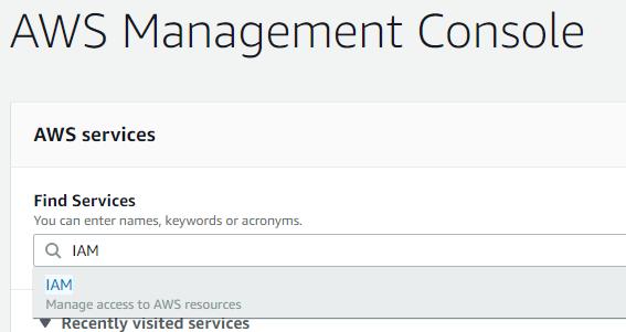 AWS Condole - Find Services - IAM