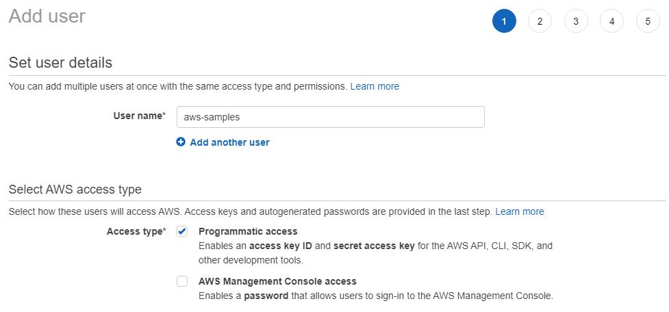 AWS IAM Add User Step One