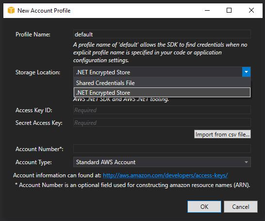 AWS ToolKit - New Account Profile