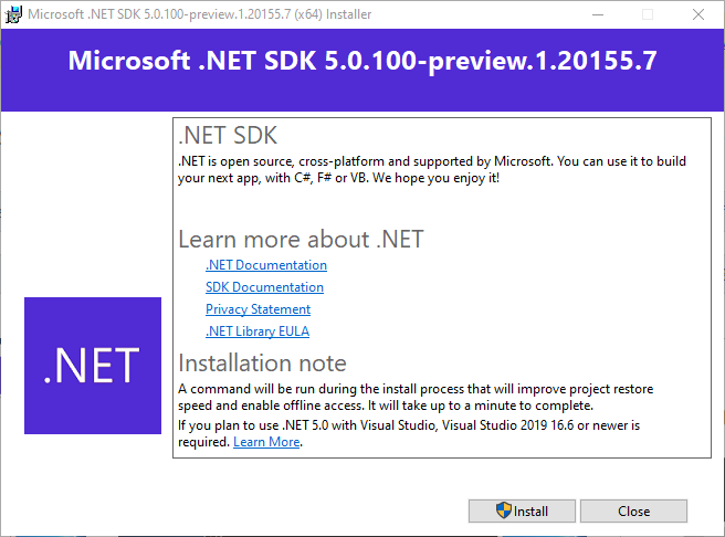 Installation windows for .NET 5 preview 1 SDK (5.0.100-preview.1.20155.7)