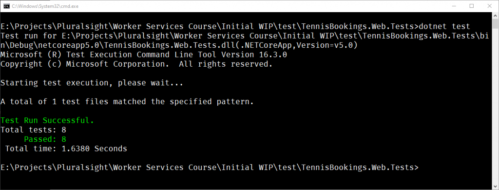 Output from dotnet test command run using the .NET CLI showing successful tests.