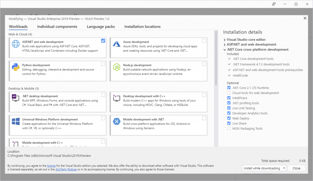 Workload selection window of the Visual Studio 16.6 preview installation