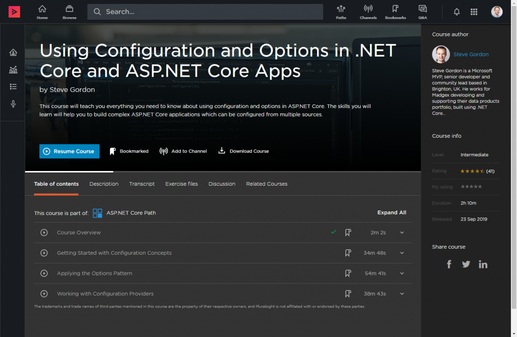 Using Configuration and Options in .NET Core and ASP.NET Core Apps Home Page