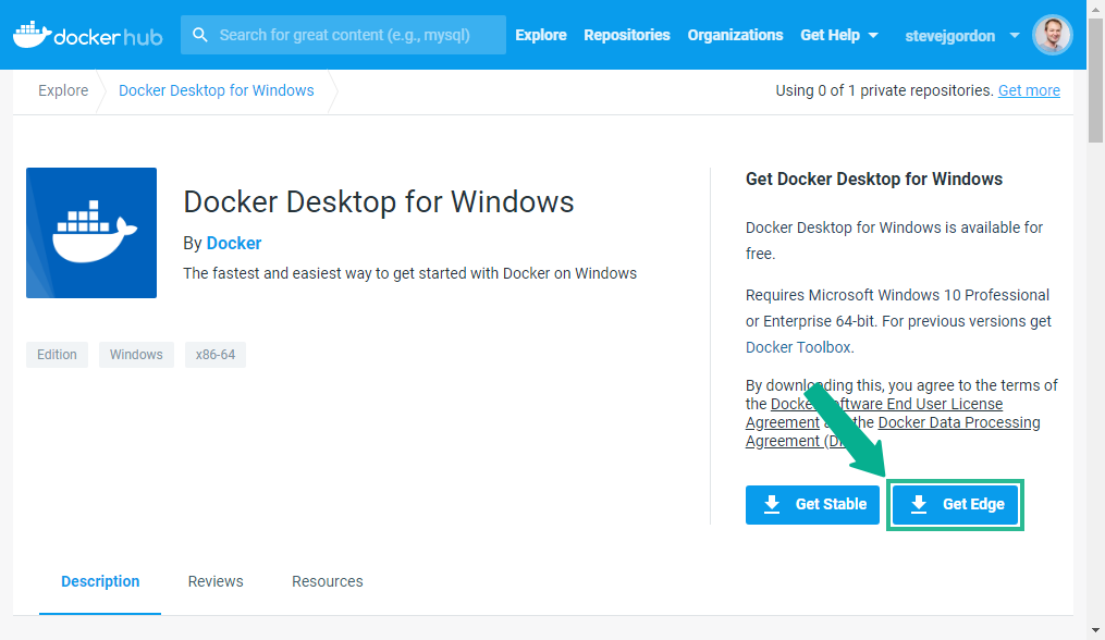 Installing Docker Desktop for Windows Edge